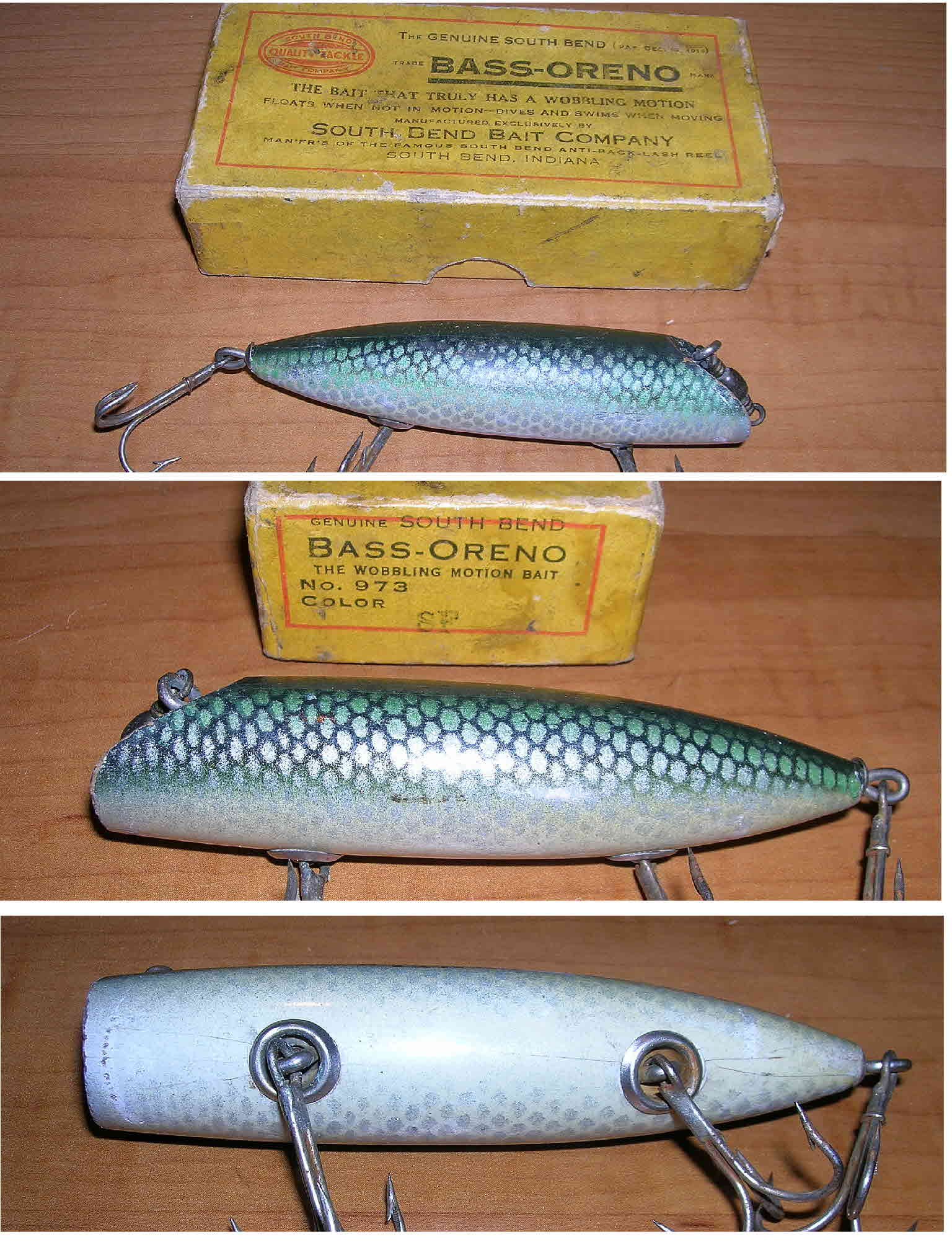 South bend lures south bend bass oreno 973 sf very nice earlier circ 1920s wooden lure with no eyes it comes in the early box that is correctly marked nvjuhfo Gallery